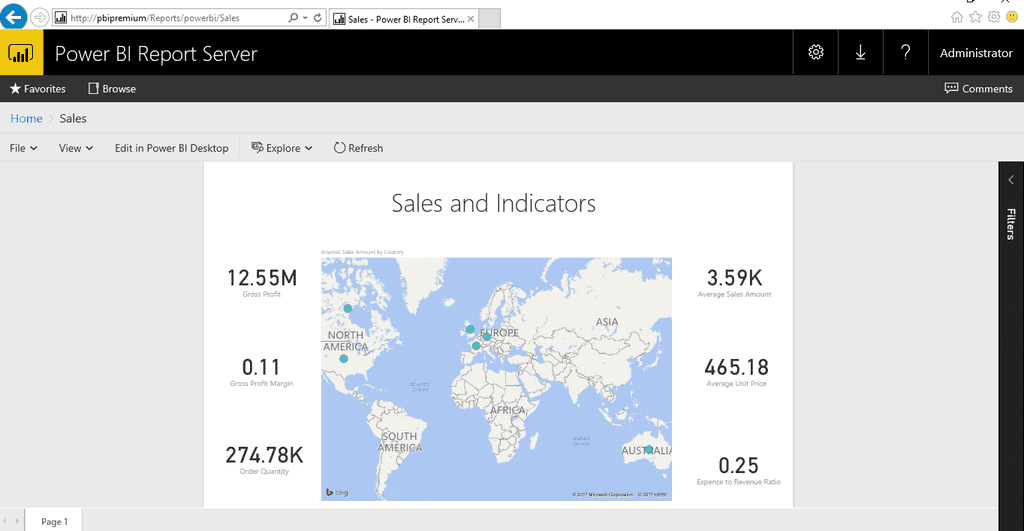 Imagen 12.- Visualización del informe de Power BI publicado en Power BI Report Server.
