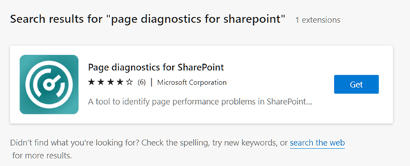 **Imagen 1.- Extensión Page Diagnostics for SharePoint.**
